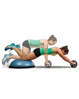 Woman exercising with BOSU and Double Ab Wheel