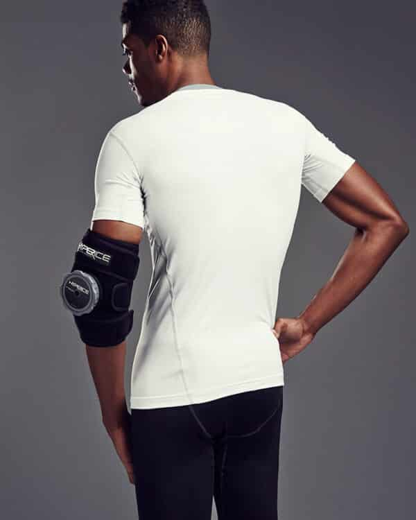 Hyperice Utility Wrap elbow in use