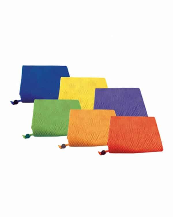 Mesh equipment bag set with rainbow colours