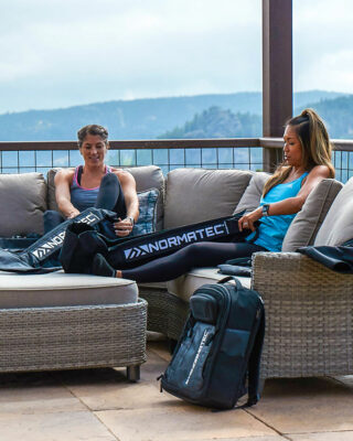NormaTec Pulse Pro 2.0 Legs in use patio