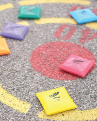 Vinyl bean bags on pavement target