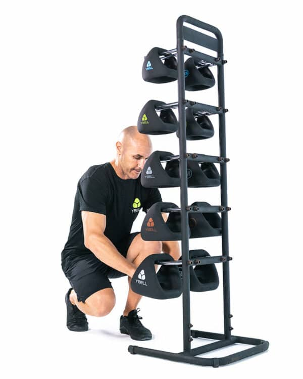 Man with YBell Vertical Rack