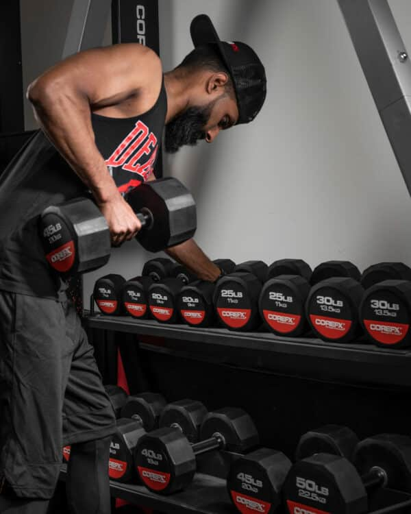 Rubber dumbbell in use