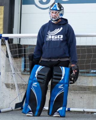 Man wearing Goalie Leg Pads Senior